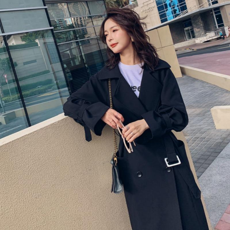 Spring Korean Windbreaker For Women Coats Long   Trench   Solid Black Female Harajuku Oversize Overcoat 2019 Ladies Raincoat Vogue