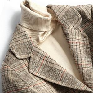 Image 2 - Women Wool Blazer 80%Wool 20%Poly Plaid Office Lady Blazer Single Button Two Pocket Jackets 2020 Autumn Winter Wool Coat