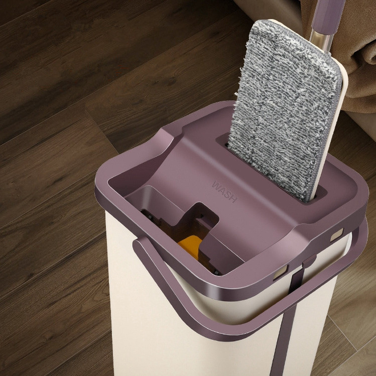 Quickly Clean Mop and Bucket with 4pcs Mop Pads Hand Easy Wringing Floor Cleaning Mop Microfiber Usage on Hardwood Laminate Tile