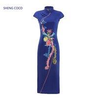 Sheng Coco Satin Cheongsam Long Qipao Dresses Phoenix Chinese Satin Cheongsam Qipao Navy Blue Phoenix Satin Dress Women S 4XL