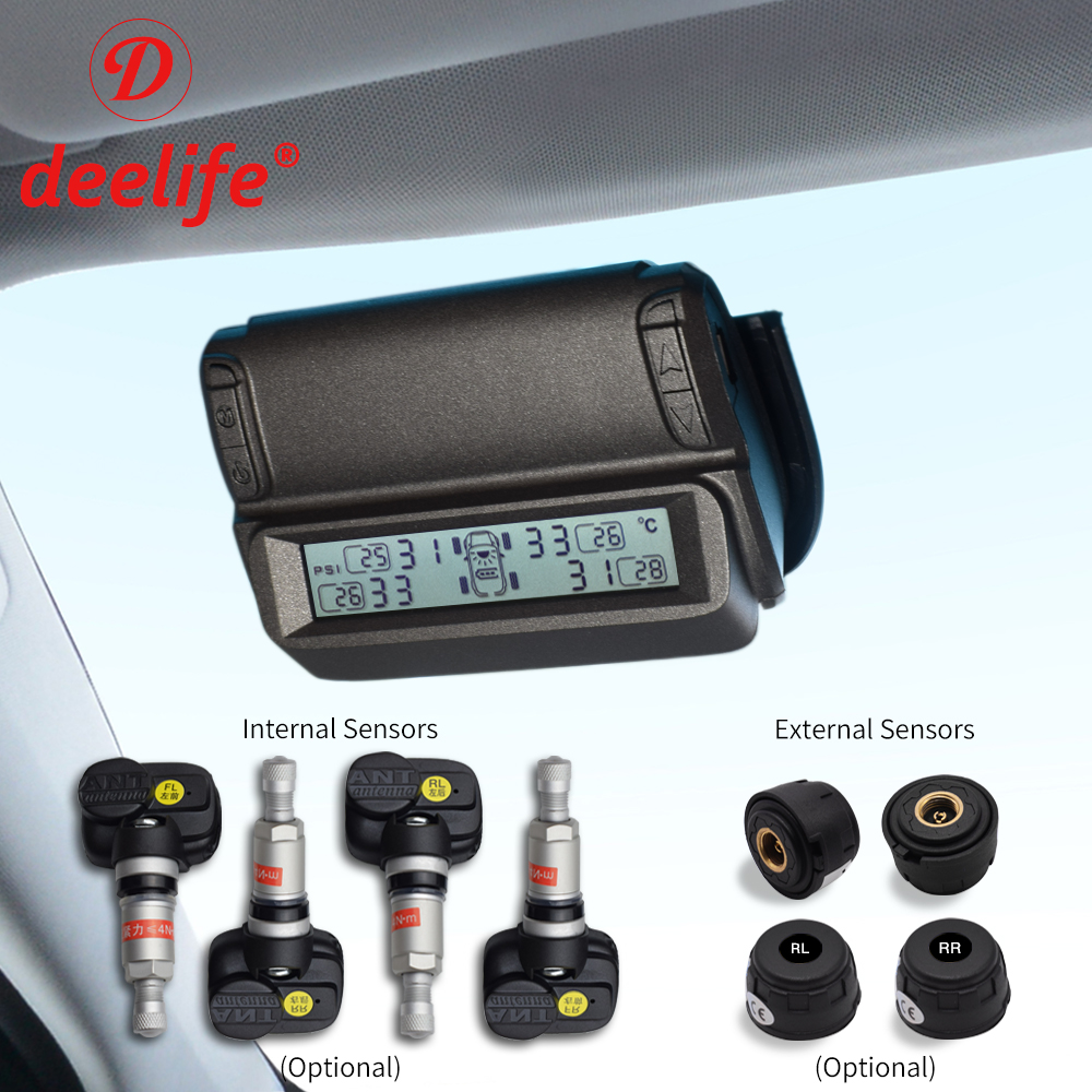 Windshield Solar TPMS Car Tire Pressure Monitoring System External Internal Sensor Smart Wireless Tyre Security Control Alarm