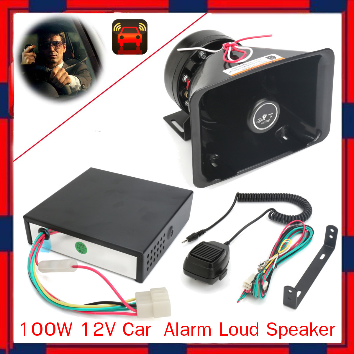 100W 12V Car Truck Alarm Loudspeaker PA Siren Horn Warning Ambulance MIC System Kit Car Truck 135dB 8 Sound