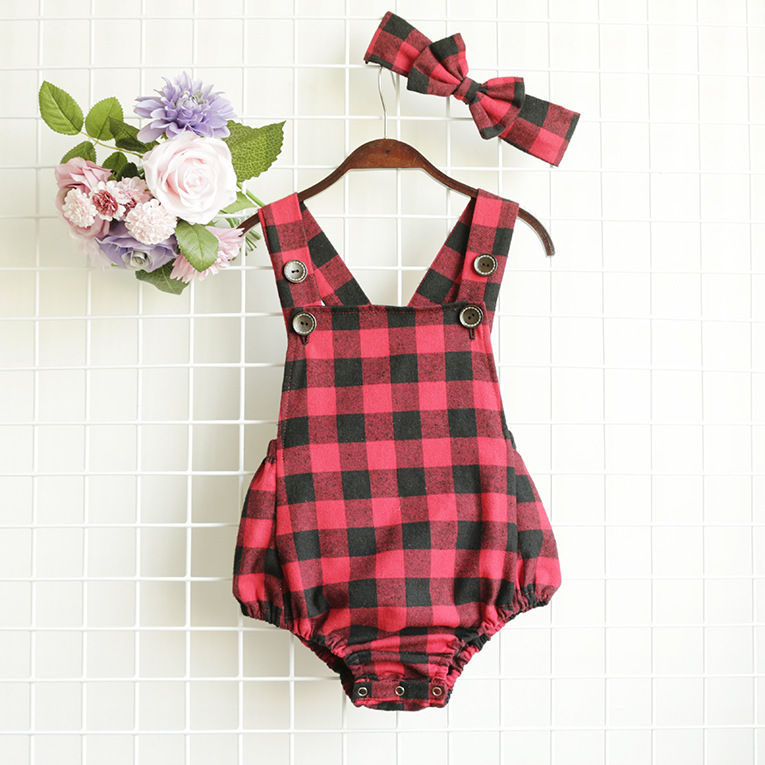 Buffalo Plaid Baby Girl Bodysuits Newborn Twins Summer ...