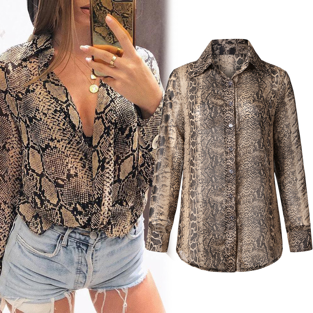 e867b4235 Sexy Snake Skin Print Shirt Women Blouses Vintage Lapel Long Sleeve Tunic  Tops Female Loose Blouse Shirts Clothes Blusa Feminina-in Blouses & Shirts  from ...