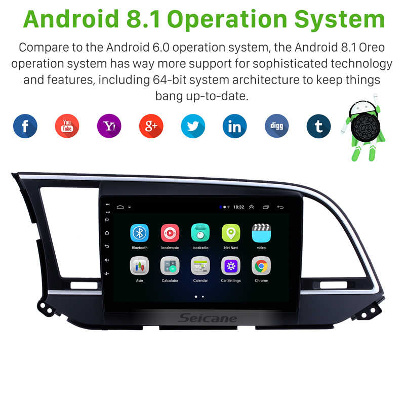 Seicane araba radyo 2016 Hyundai Elantra için 9 inç HD dokunmatik Android 8.1 GPS navigasyon başkanı ünitesi desteği Bluetooth Wifi
