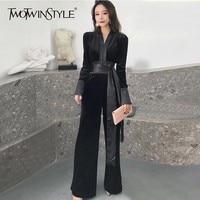 TWOTWINSTYLE Elegant Women's Romper V Neck Long Sleeve High Waist Bandage Velvet Jumpsuits For Women 2018 Autumn Fashion Tide