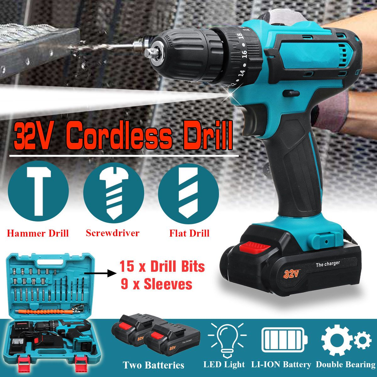 32V Max Cordless Drill 2 Speed Electric Screwdriver with 2 Batteries Impact Drill Power Driver 3 IN1 Electric Drill Power Tool