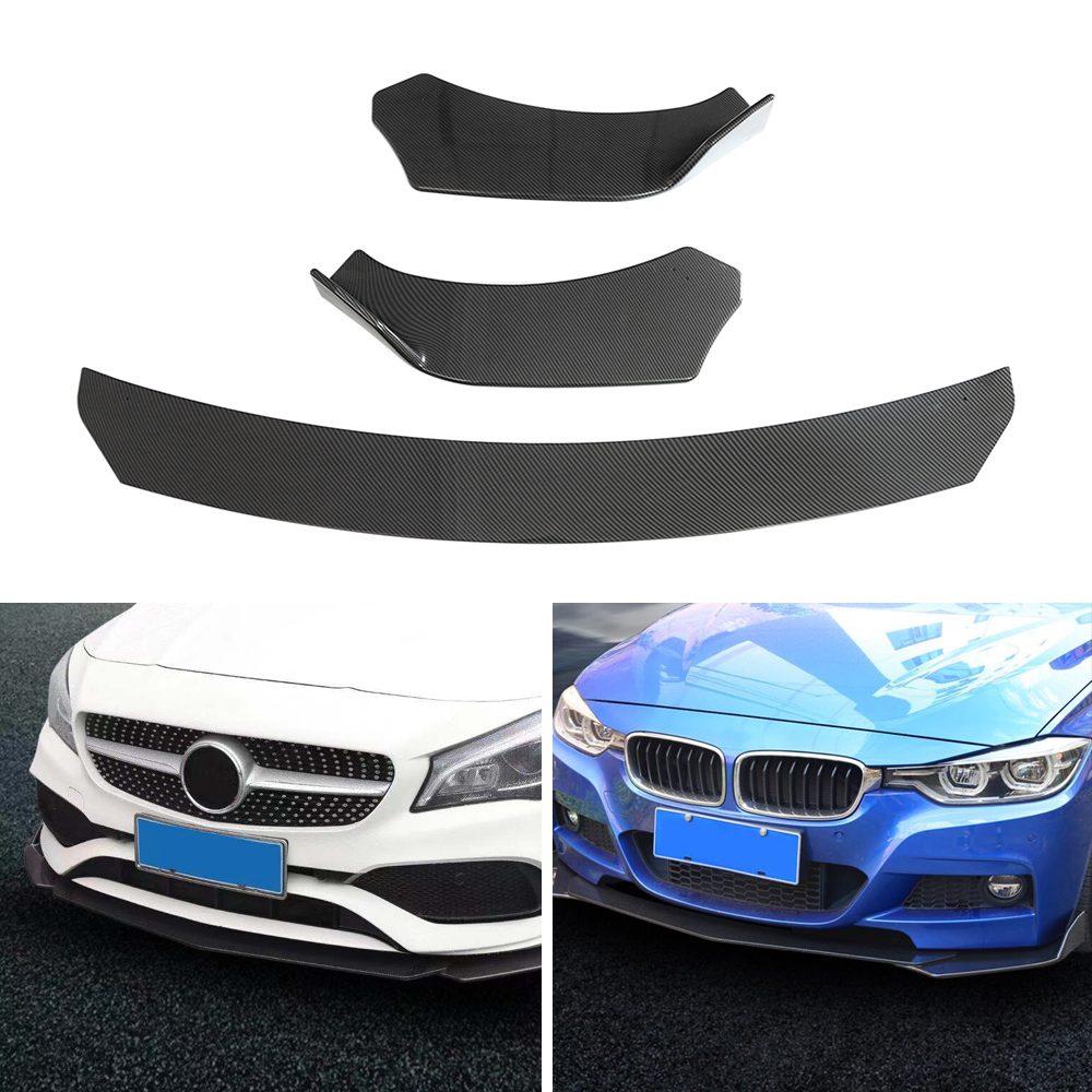 Carbon Fiber Look Universal 3Pieces Car Front Lip Chin Bumper Body Kits For Honda For Civic