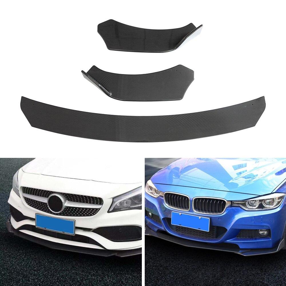 Tickas Car Front Lip,Black Universal 3Pieces Car Front Lip Chin Bumper Body Kits for Honda for Civic
