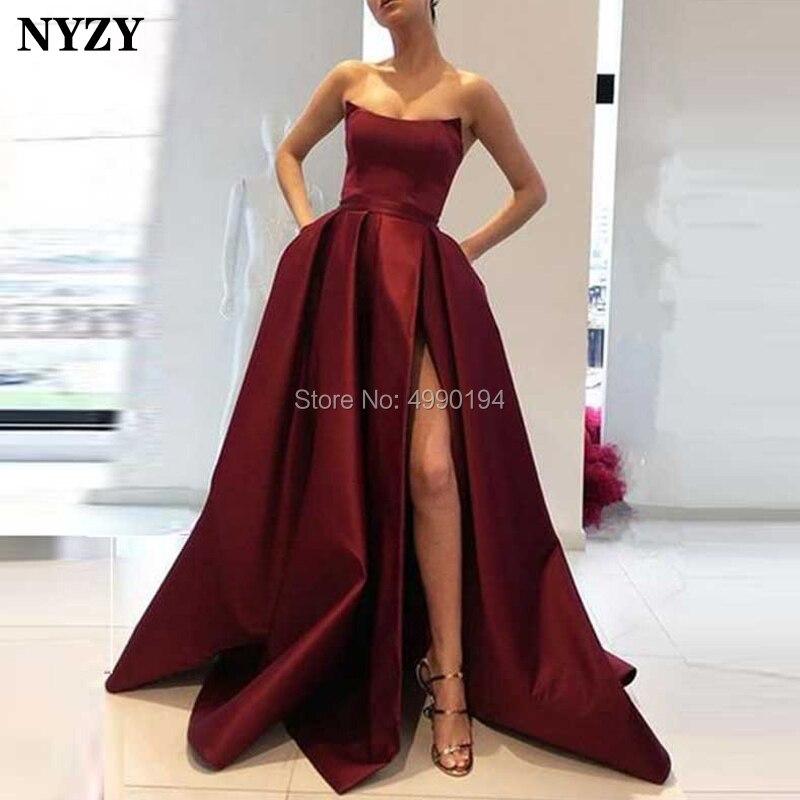 NYZY P35 High Leg Slit Sleeveless Simple Burgundy Satin Prom Dress Formal Party Gown Evening Vestidos De Festa Longo 2019