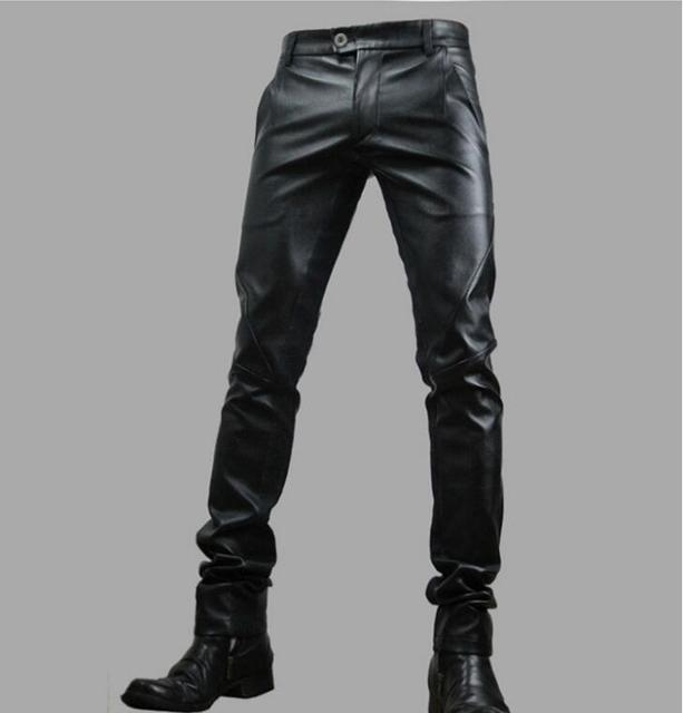 8e5c942d35b18 Free Shipping 2019 Man Leather Pants Winter Fashion Feet Pants Men  Motorcycle Leather Trousers male Singer splicing Costumes