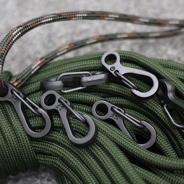 EDC SF Mini Spring Hang Paracord Clasp Hook Backpack Hike Mountain Climb Gear Quickdraw Carabiner Tactical Keyring Survive Camp
