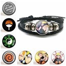 Moda anime japonês preto trançado pulseira de couro de vidro cabochão jóias masculino anime pulseira acessórios cosplay presentes
