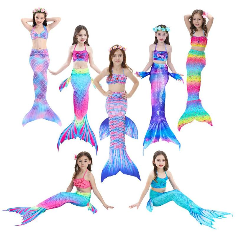 3PCS/Set HOT Kids Girls Bikini Set  Mermaid Tails With Fin Swimsuit Bikini Bathing Suit Dress For Girls Children Beach Cosplay
