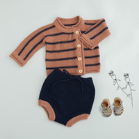 0 3Yrs baby boys clothing set Spring autumn small kids cotton knitted long sleeve cardigans+shorts sets toddler girls clothing
