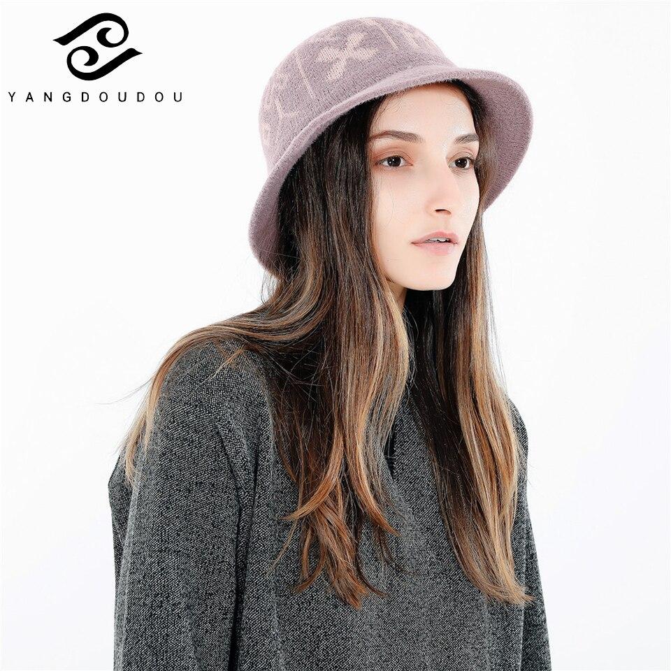 Yangdoudou Fashion Cotton Geometric Bucket Hat Warm Autumn Outdoor Sunshade Leisure Travel Warm Knitted Fisherman Hat
