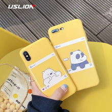 USLION Lovely Couples Bear Phone Case For iPhone X 8 7 6 6s Plus Cartoon Panda Back Cover For iPhone XS Max XR Soft TPU Silicone цена и фото