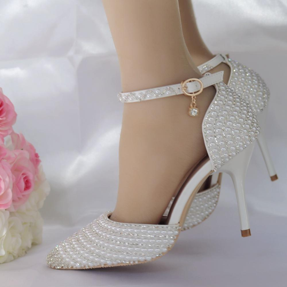 Модная обувь; коллекция 2019 года; женские туфли лодочки на высоком каблуке с жемчужинами; белые свадебные вечерние туфли на каблуке; женские туфли с ремешком на лодыжке и кристаллами - 5