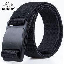 CUKUP мужской бренд унисекс дизайнерский качественный пластиковый стальной ремень с пряжкой мужской качественный холщовый эластичный пояс повседневные ремни для мужчин CBCK120