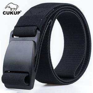 Image 1 - CUKUP Mens Brand Unisex Design Quality Hard Plastic Buckle Belt Man Quality Canvas Elastic Waistband Casual Belts Men CBCK120