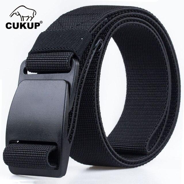 CUKUP Mens Brand Unisex Design Quality Hard Plastic Buckle Belt Man Quality Canvas Elastic Waistband Casual Belts Men CBCK120