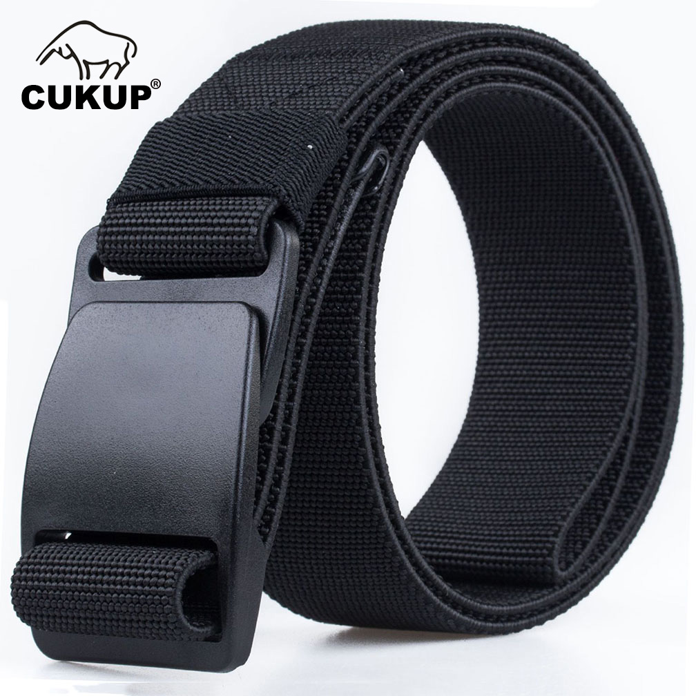 CUKUP Men's Brand Unisex Design Quality Plastic Steel Buckle Belt Man Quality Canvas Elastic Waistband Casual Belts Men CBCK120