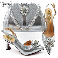 Italian Silver Ladies Shoes And Bags To Match Set Decorated with Rhinestone African Women Shoes Bags Set Party Wedding M1085