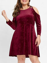 Joineles Plus Size Velvet Dress Women Sexy Cold Shoulder Long Sleeve Autumn Winter Dress Solid Red A-Line Vintage Party Dresses(China)