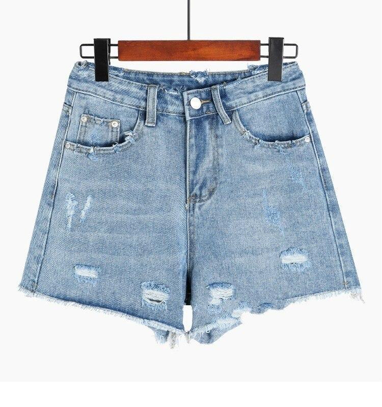 Sexy Summer Women Jean Shorts Denim Ripped Hole Washed High Waist Pockets Shorts Feminino Blue Black Jeans Short Pants