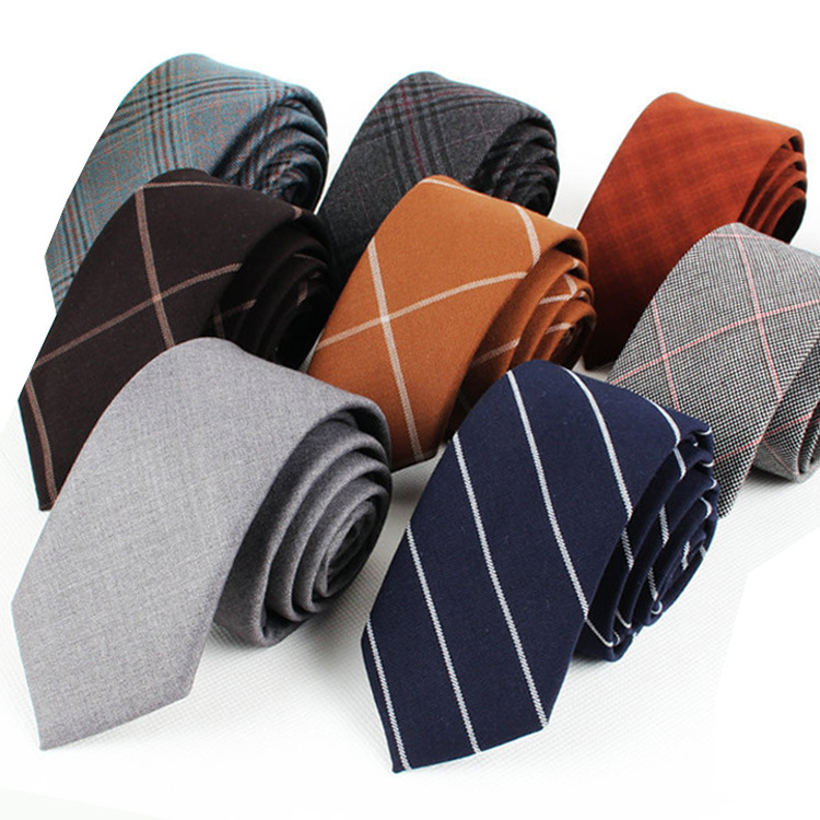 Mens Tie 6cm Narrow Version Of Imitation Wool Neckcloth Casual Cotton And Linen Necktie Accessories Groomsmen Groom Wedding Gift
