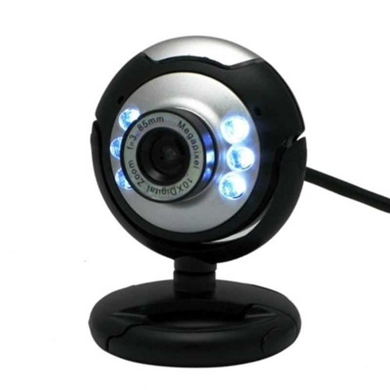 6 LED USB 2.0 Webcam Camera 12 Mega Pixel  Web Cam Digital Video Webcamera With Mic Night Vision For Desktop PC Laptop Computer