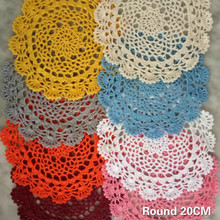 20CM Round Vintage Hollow Flowers Crochet Tablecloth Coaster Cotton Lace Christmas Placemat Dining Doily Decor Insulation Pads