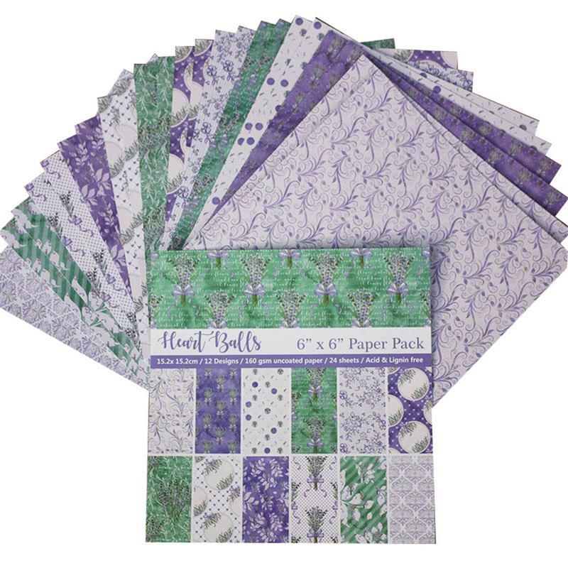 24PCS flower Background PaperDIY Album Scrapbooking Planner Card 6 Inch Single-Sided Printing Pattern Paper #BW