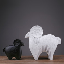 2018 Sale Rushed Mrzoot Nordic Fashion Abstract Black And White Sheep Statue Home Decoration Accessories Sculpture Resin Art