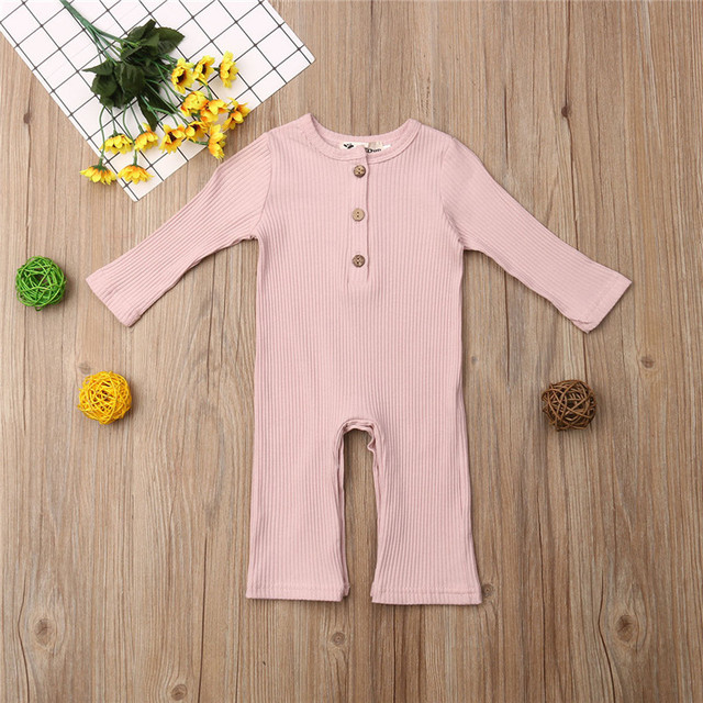 Newborn Full Sleeve Romper Solid Long Pant Jumpsuits Spring Outwear Cotton Outfits Baby girl Boy Clothes 1