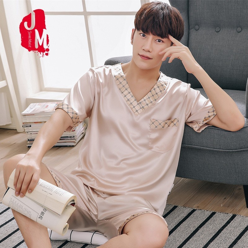 Satin Men Pyjama Set Summer Silk Men Pajama Suit Short Sleeve Solid Pajama Male Sleepwear Spring Pijama Man Nightgown XXXL Sleep