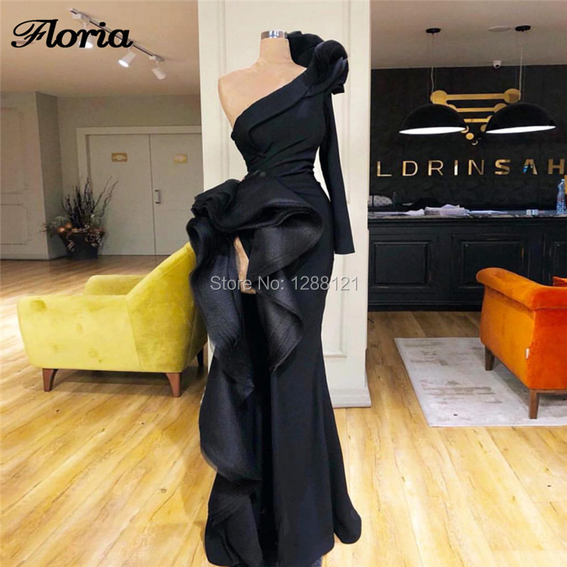 Black One Shoulder   Evening   Pageant   Dresses   Couture Arabic Prom   Dress   2019 New Islamic Aibye Muslim   Evening     Dress   Robe de soiree
