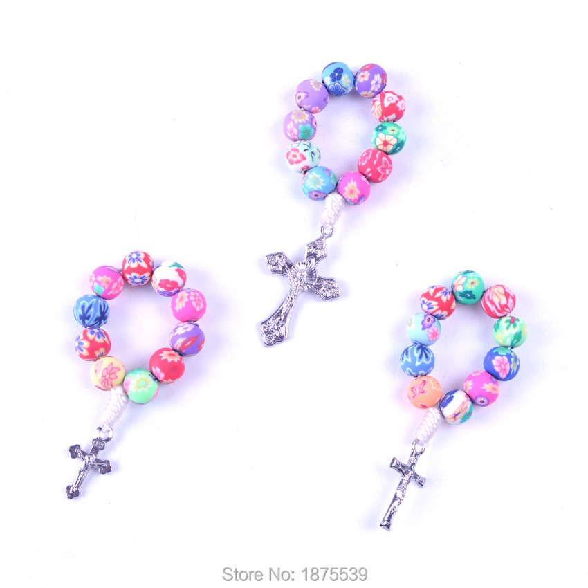Colorful Clay Bead Finger Rosary Bracelet 3 Size Alloy Cross For Selection