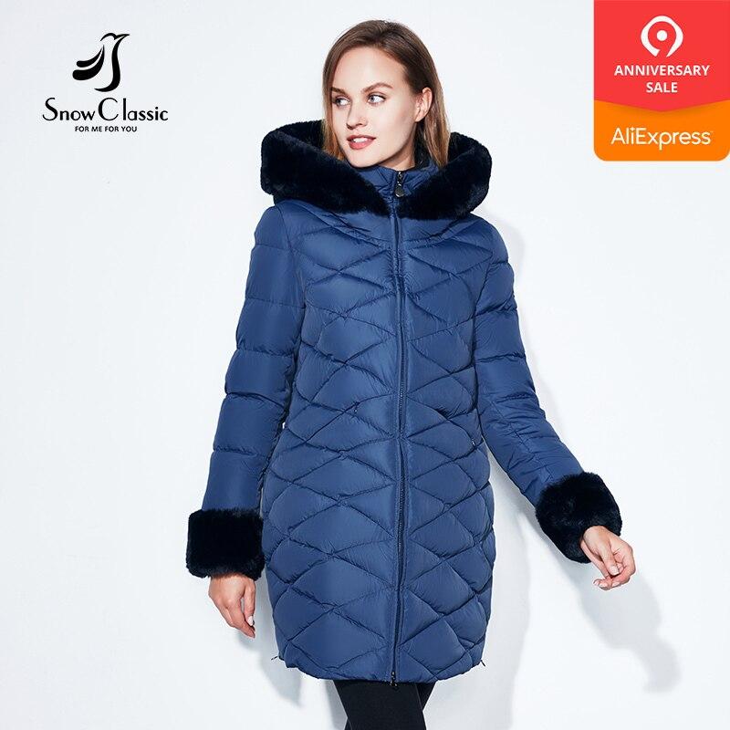 SnowClassic Winter Women Coat Jacket Woman Parka Long Warm High Quality collar sleeve Winter Brief Coat