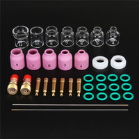 FORGELO 36pcs/set Durable TIG Welding Torch Stubby Tig Gas Lens Glass Cup Kit For WP 17/18/26 Welding Accessories