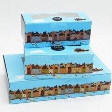 12 Pcs Paper Box Windows Gift Packaging For Candies Fairy Town Kraft Handmade Wedding Favors Cardboard