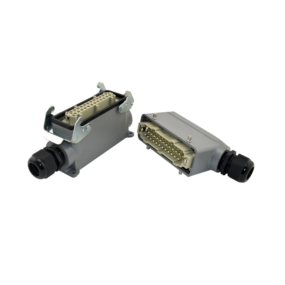 HE-024-3 Heavy Duty Connectors HE Series Waterproof Male Female 24 Pin Industrial Amphenol he 024 4d 16a terminal block power crimp plug heavy duty connectors for spinning and packing machine
