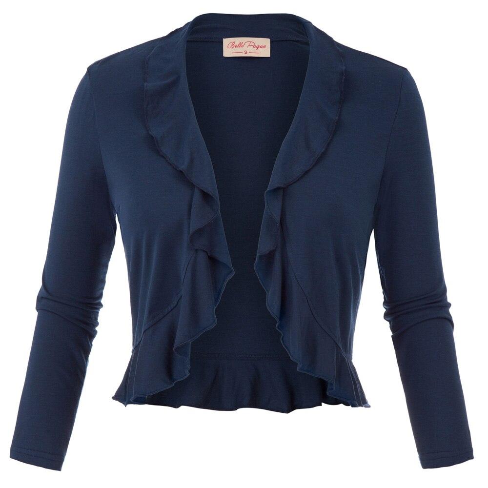 ae3330aef2456 Женский топ с рюшами болеро куртка три четверти Длина рукава пальто темно- синий