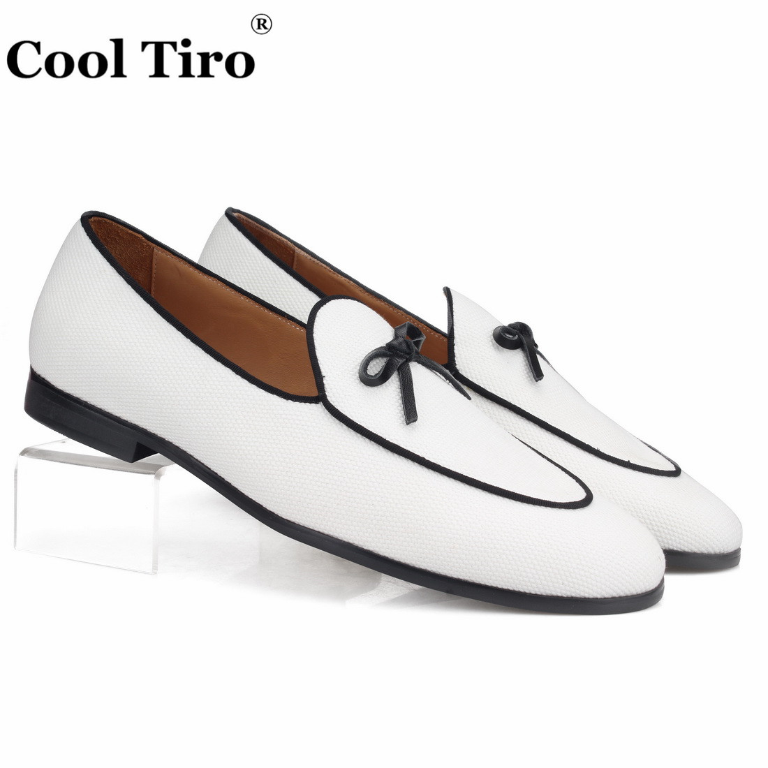 White Canvas Belgian Loafers With Bow Men Moccasins Slippers Wedding Party Men s Dress Shoes Casual