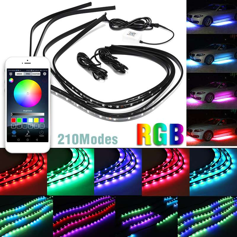 4Pcs LED Bar MUSIC Car Under Glow Light kit bluetooth APP Remote Control MULTI Modes Decoration Strip light lamp Waterproof