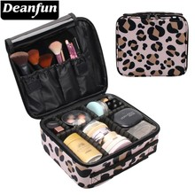 Deanfun Makeup Case Classic Leopard Pattern Waterproof Oxford Adjustable Dividers Cosmetic Bag Travel Organizer Gift 16013