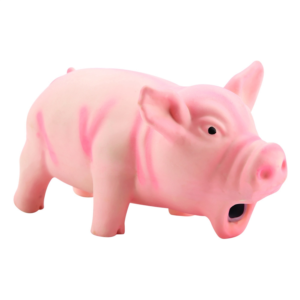 100% Brand New Cute Pig Grunting Squeak Latex Pet Chew Toys For Dog Squeaker Chew Training Pet Products(China)