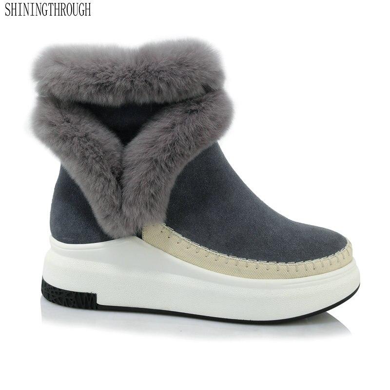 2019 Genuine Leather Women snow Boots winter warm women ankle Boots flat platform Femal Shoes black