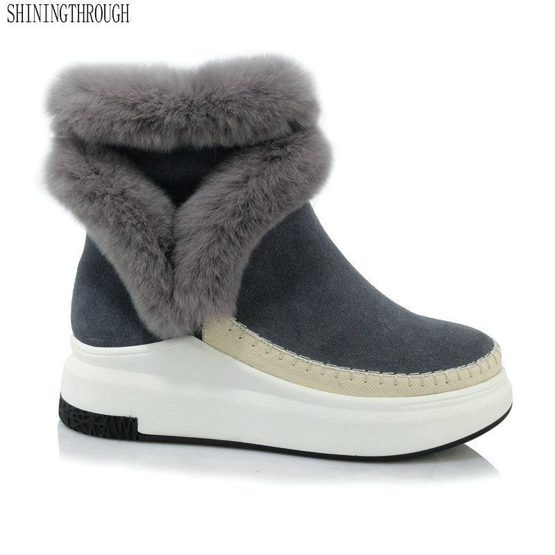 2019 Genuine Leather Women snow Boots winter warm women ankle Boots flat platform Femal Shoes black gray big size 33-432019 Genuine Leather Women snow Boots winter warm women ankle Boots flat platform Femal Shoes black gray big size 33-43