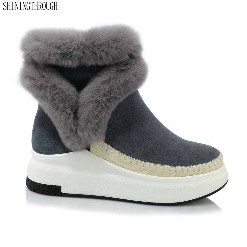 6ed5106ab 2019 Genuine Leather Women snow Boots winter warm women ankle Boots flat  platform Femal Shoes black